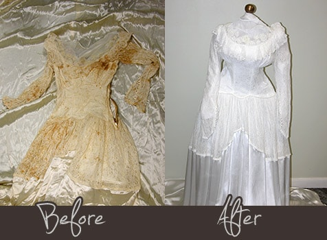 Wedding gown cleaning and preservation garment care pros for Restoring old wedding dresses
